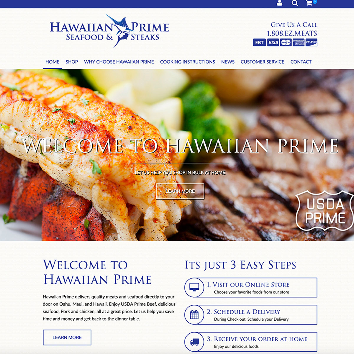 Hawaiian Prime e-commerce wordpress website