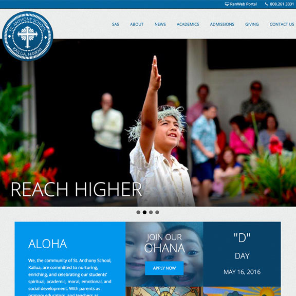 St. Anthony School Wordpress Website Design project