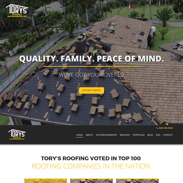 Torys Roofing Wordpress Website poject
